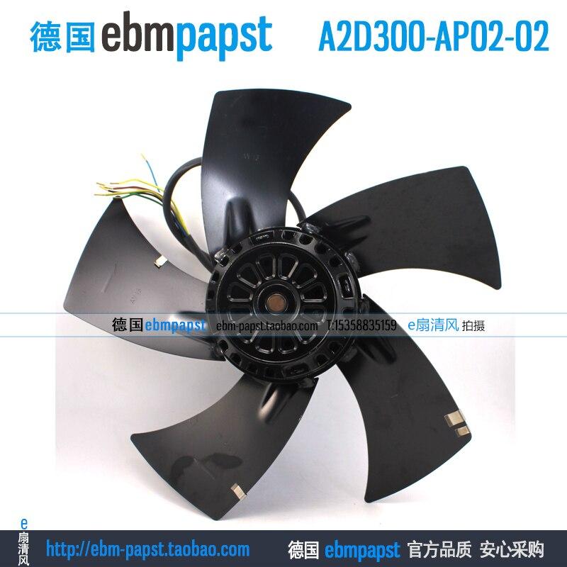 ebm papst A2D300-AP02-02 AC 230V 400V 0.48A 0.36A 210W 300W 300x300mm Outer rotor  fan new original ebm papst a2s130 ab03 11 ac 220v 240v 0 3a 50w 130x130mm outer rotor fan