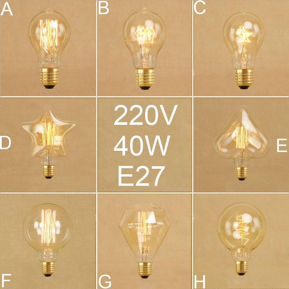 Vintage Edison Bulbs A19 G95 Diamond Squirrel Incandescent Bulbs Retro Five Star Heart Spiral 40W Filament Bulb 220V 240V