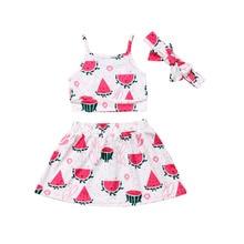 01096789a440 Nuevos niños pequeños bebé niña 0-3Y conjuntos de ropa verano sandía  estampado Tops camiseta falda diadema 3 piezas ropa
