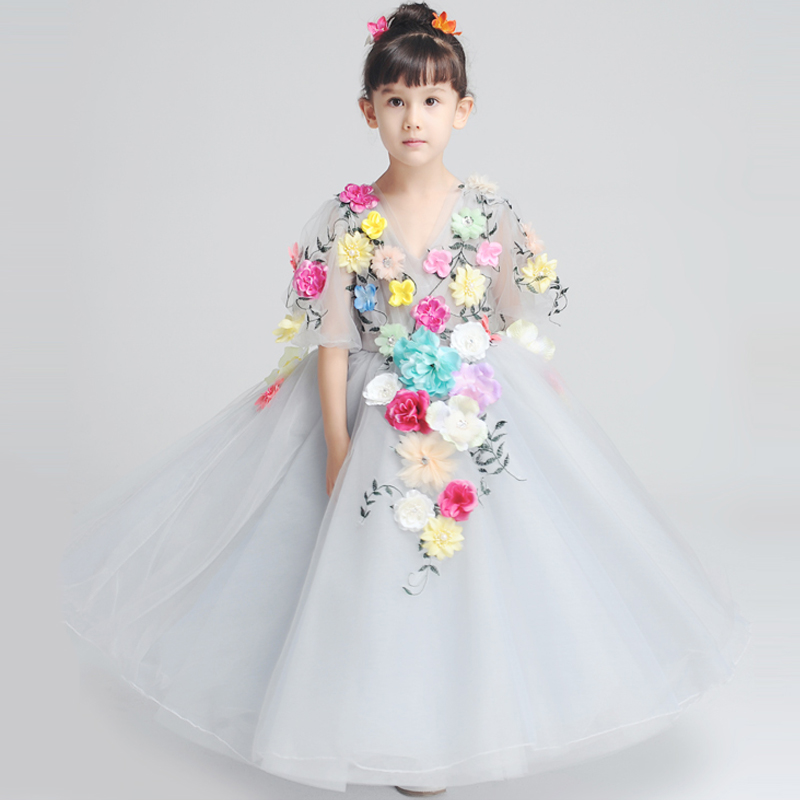 Flower Girl Dresses Wedding Ball Gown Dress Petal Sleeve Kids Birthday Costume Girls Gown Dress Floral Evening Formal Dress JL20 chiffon girls formal wedding dress flower girl evening dresses floor length kids graduation gowns children floral pleat costume