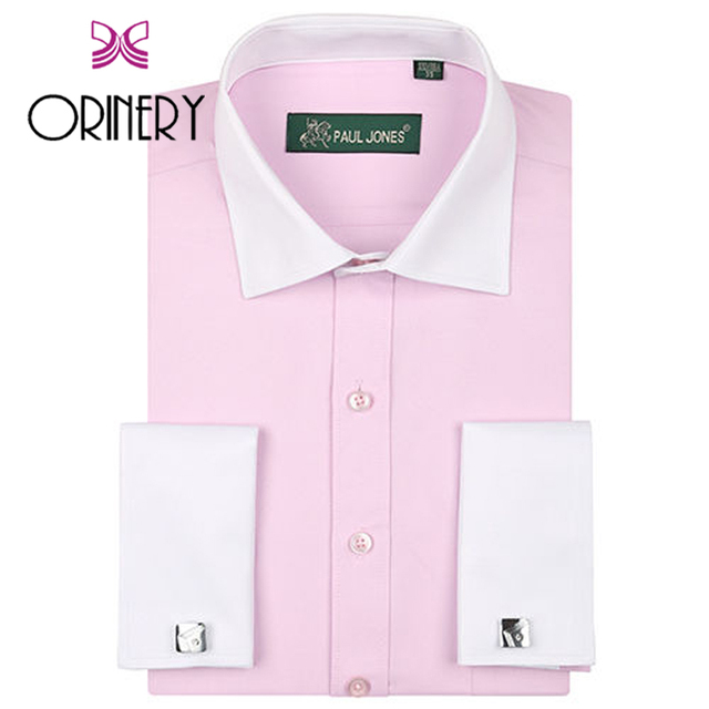 ORINERY Hot Sale Designer Patchwork Camisa Masculina Long Sleeve Dress Shirt Men Brand Clothing French Cuff with Cufflinks