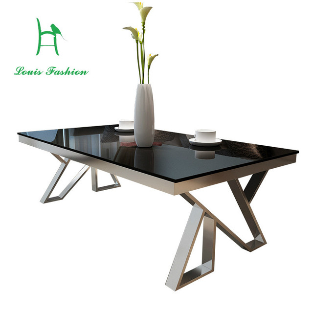 Louis Fashion Modern Simple Stainless Steel Tempered Glass Tea Table, Baking  Paint Toughened Glass Coffee