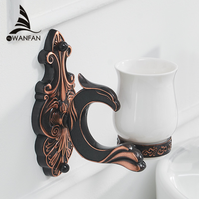 Cup & Tumbler Holders Brass Antique Tumbler Toothbrush Holder With Double Ceramics Cups Decorative Bathroom Accessories WF-88802 new bathroom antique double tumbler cup holder toothbrush holder bathroom accessory sanitary ware bathroom furniture sl 7808