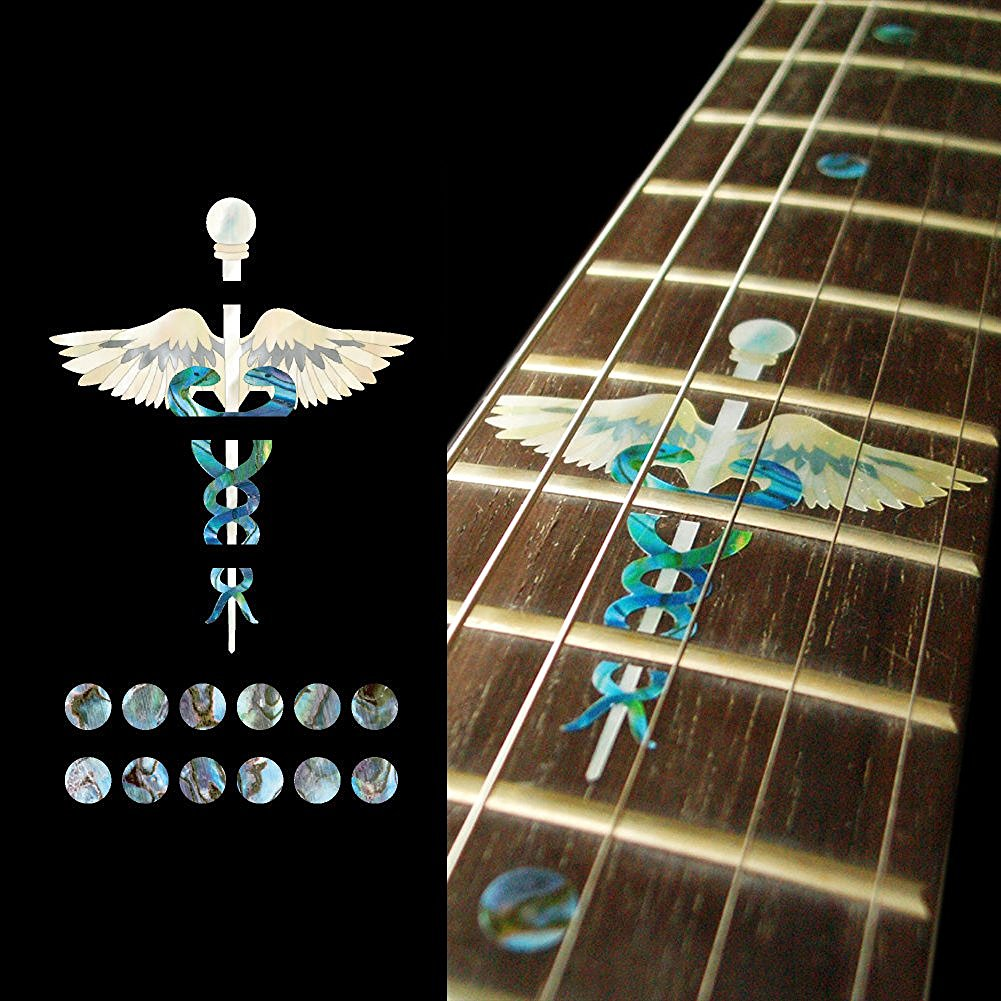 Fretboard Markers Inlay Sticker Decals for Guitar - Caduceus (Symbol of Medicine) guitar or bass tree of life fretboard silver color inlay ultra thin sticker