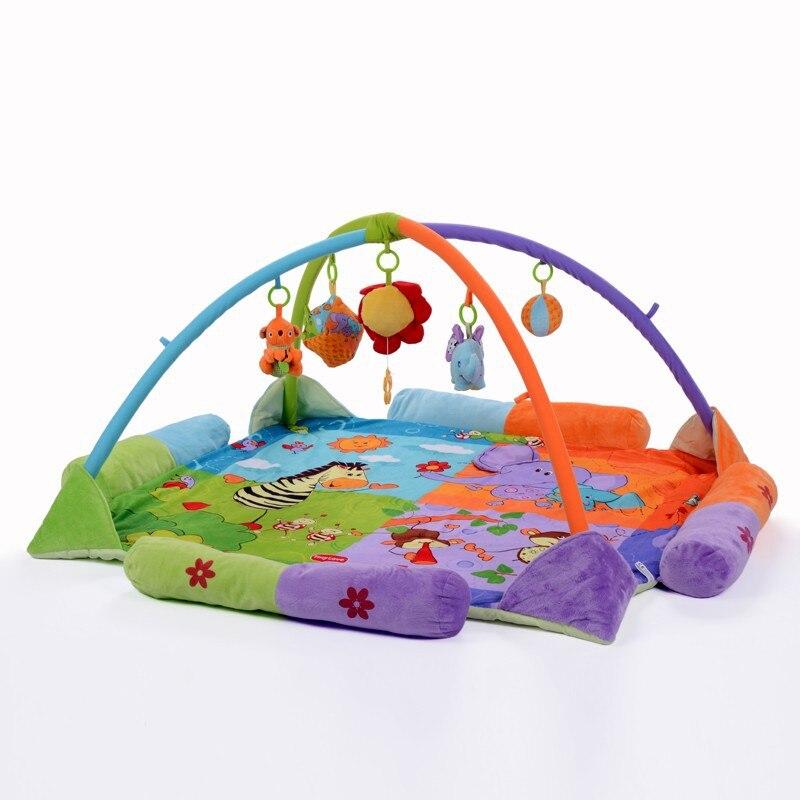 цена на Toddle GYM Play Mat Soft Cartoon Animal W/ Hanging Toys Protection Corner Kids Colorful Toy 120*120cm
