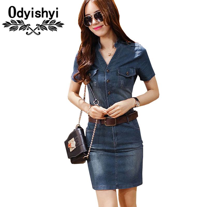 S-3XL Summer Short sleeve Denim Dresses With Belt Women New Arrivals Large Size V-neck Bodycon pencil Dress Female Vestidos HS45