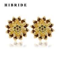 HIBRIDE 3 couleurs belle fleur jaune cubique zircone boucles d'oreilles femmes mode bijoux classique femelle boucle d'oreille Brincos E-372