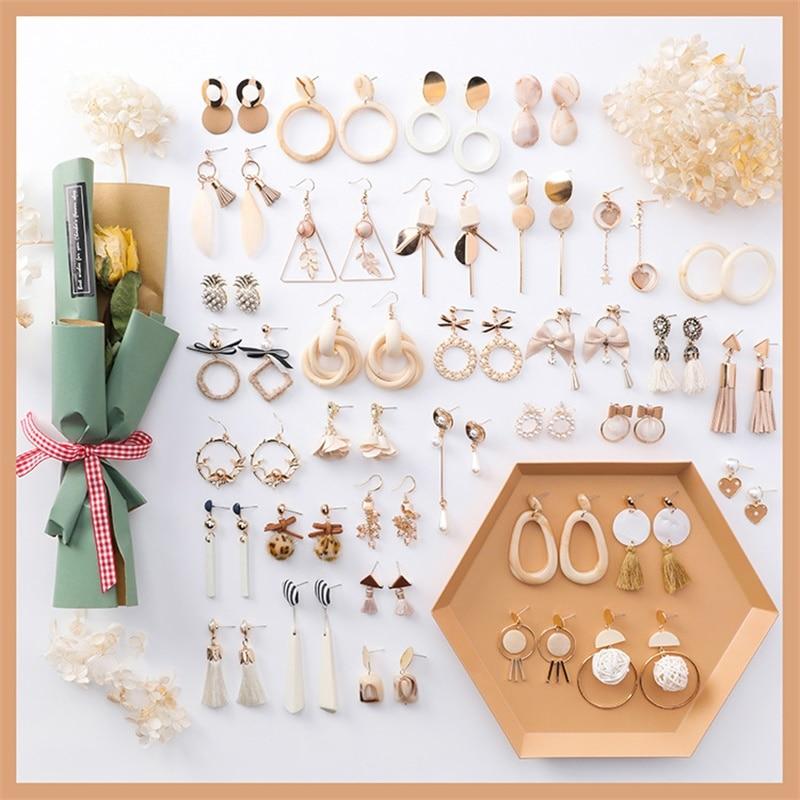 Korean Version of the Sweet Acrylic Exaggerated long Tassel Earrings Fashion Apricot Wooden Geometric Women's Earrings Maxi