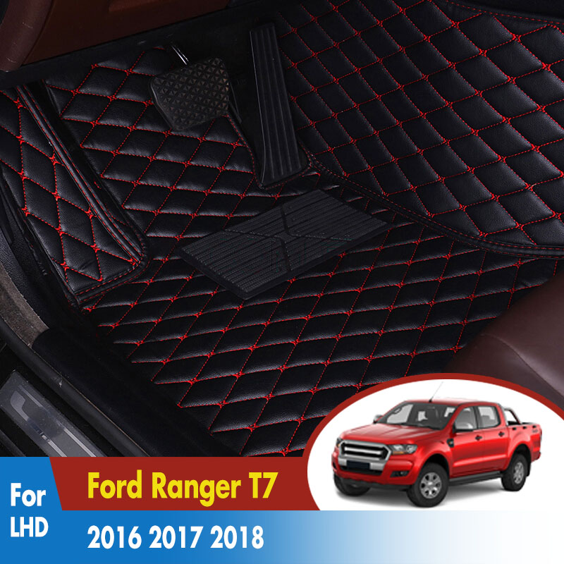Car Floor Mats For Ford Ranger T7 2016 2017 2018 Leather Rugs Dash Mats Cargo Liners Pads Auto Interior Accessories LHD