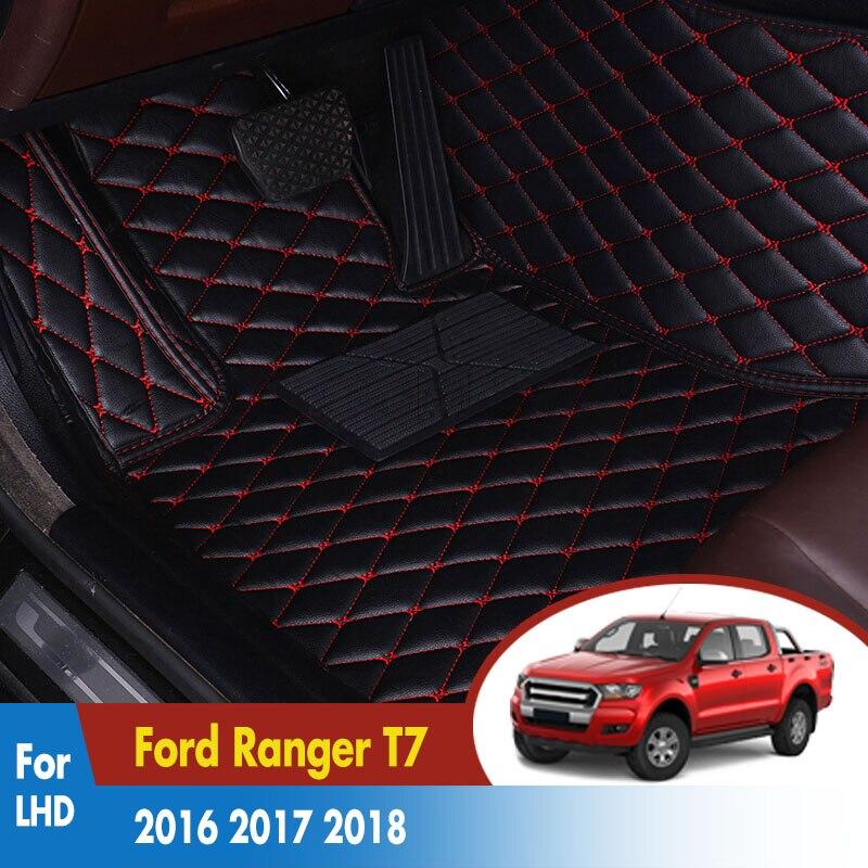 Tapis en cuir Tableau De Bord Tapis cargo de ligne Tampons Auto Accessoires Intérieurs LHD Voiture tapis de sol Pour Ford Ranger T7 2016 2017 2018 2019