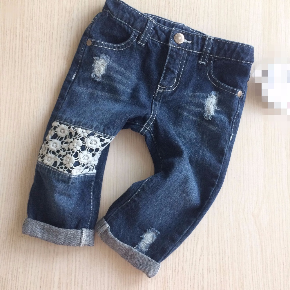 Baby Calf-Length Pants girls Cropped Trousers lace Patchwork pants for girl Fashion kids Ripped jeans child seven-inch trousers high quality mens jeans ripped colorful printed demin pants slim fit straight casual classic hip hop trousers ripped streetwear