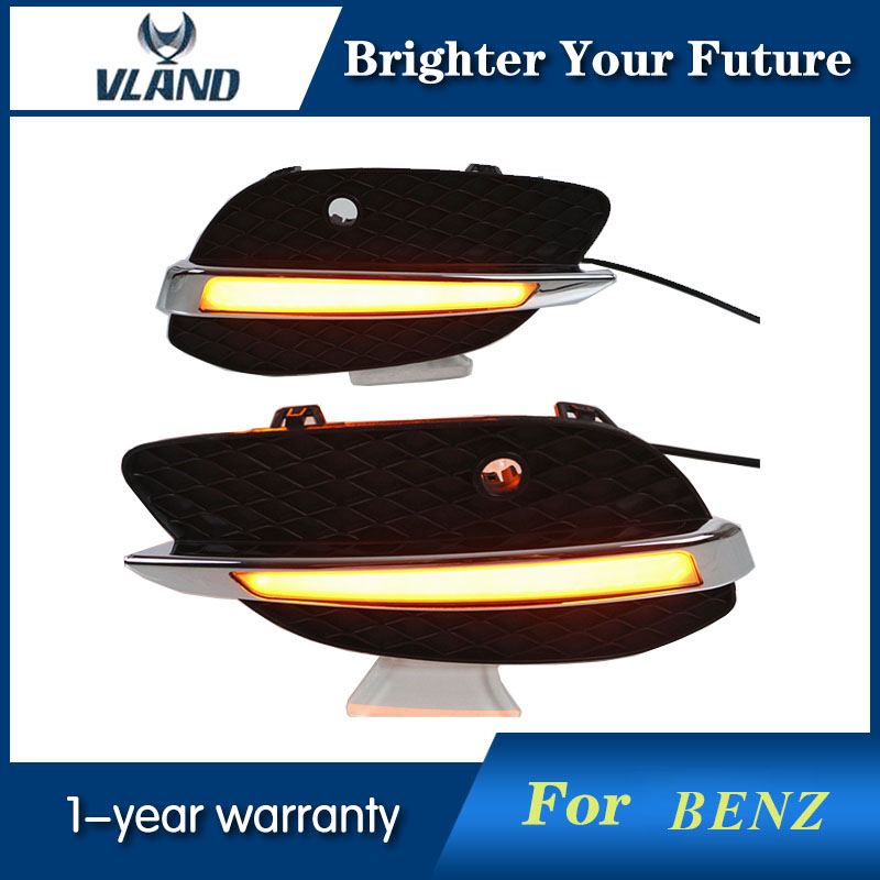 LED Daytime Running Light DRL Fog Driving Lamp For Mercedes Benz GLC X205 2015 2016 Daylight Yellow Turn Signal Lamp led daytime driving running fog light lamp for mercedes benz w164 ml350 ml280 ml300 ml320 ml500 2009 2011 drl