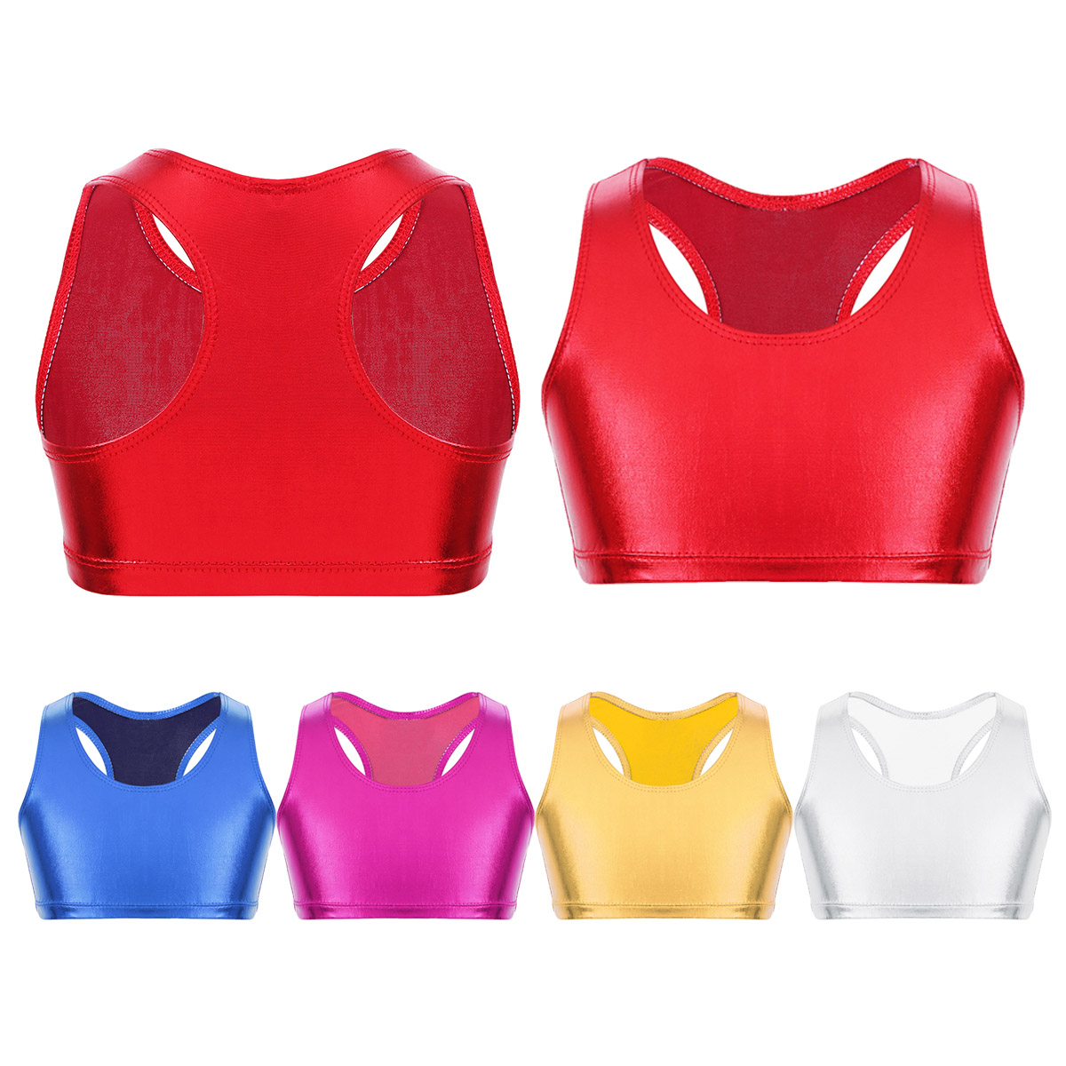 dPois Kids Girls Sports Gym Dance Workout 2 Pieces Outfits Short Sleeves Crop Top with Letters Boy Cut Shorts Set