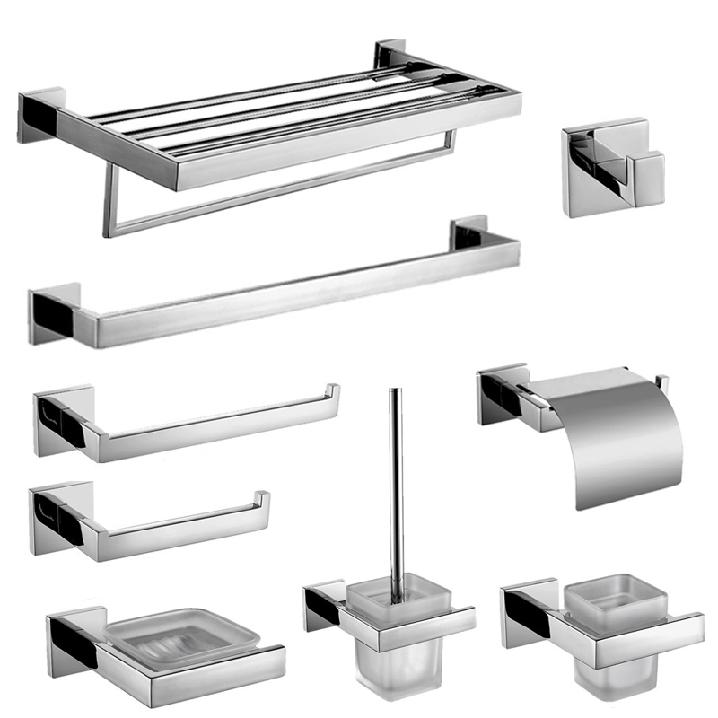 SUS 304 Stainless Steel Wall Mounted Bathroom Hardware Set Smooth Bright Surface Chrome Steel Bathroom Hardware Set