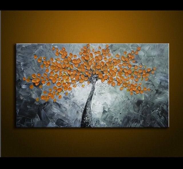Oil Painting On Canvas Palette knife yellow Flowers Painting ...