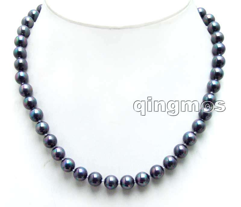 SALE 8mm Round High Quality Black Sea shell Pearl 17 necklace-nec6024 Wholesale/retail Free shipping