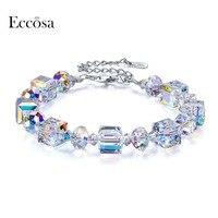 ECCOSA Romantische Armbanden & Bangles Unieke Uitgebreide Keten Armband Voor Vrouw Geometrische Originele Crystal Van Swarovski