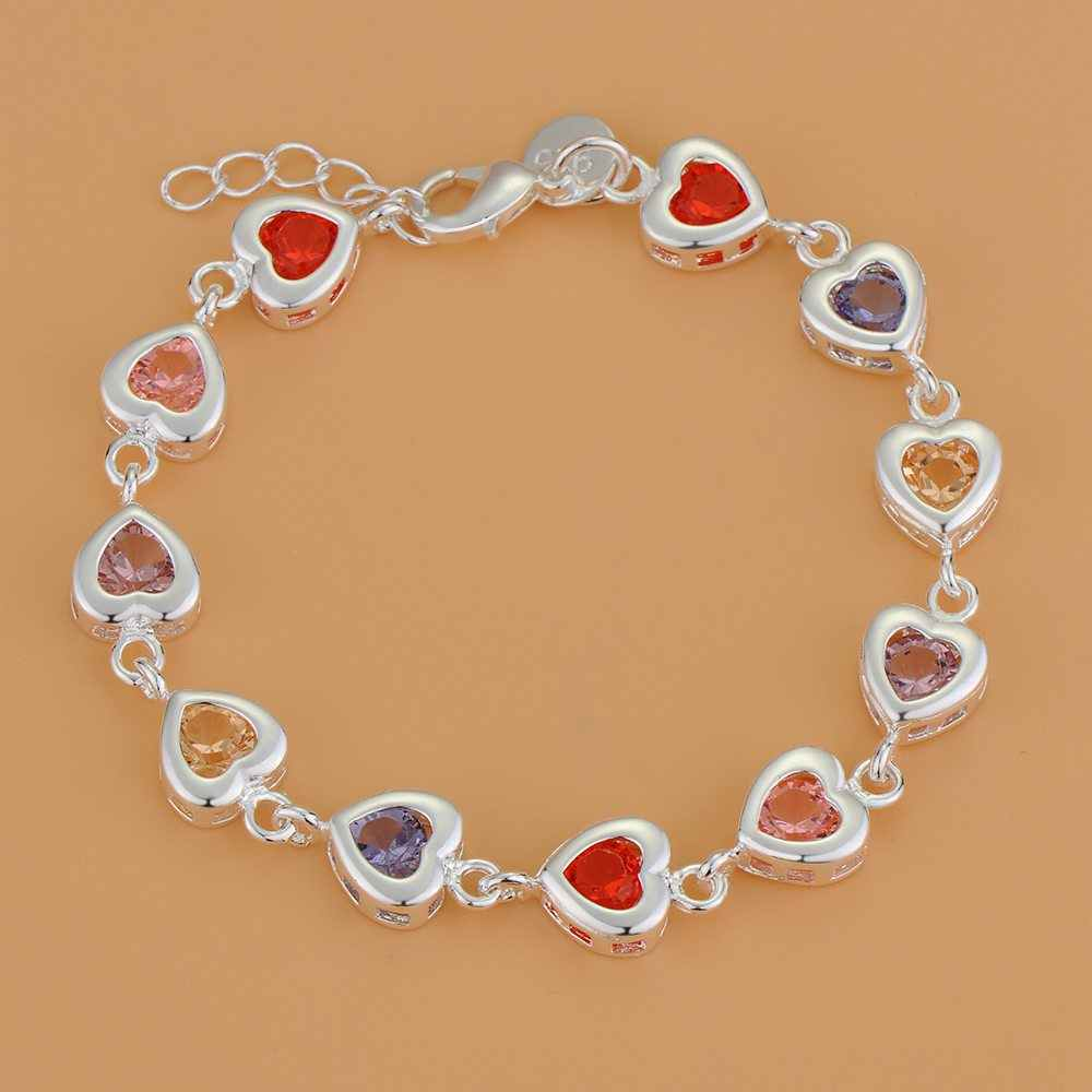 Endearing honey маленькое сердце браслет с разноцветными 925 пробы серебряные ювелирные изделия подарки для подруг Бесплатная доставка
