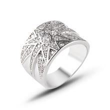 2019 white gold color Micro-Zircon Ring Fashion Star-shaped wide-grain index finger ring for women J02803 недорго, оригинальная цена