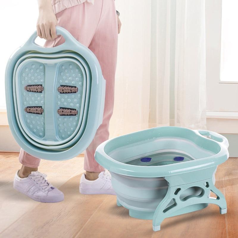 Bain de pieds pliant en plastique pour enfant avec rouleau bain de pieds Portable Pot de lavage des pieds pour les enfants et les parents