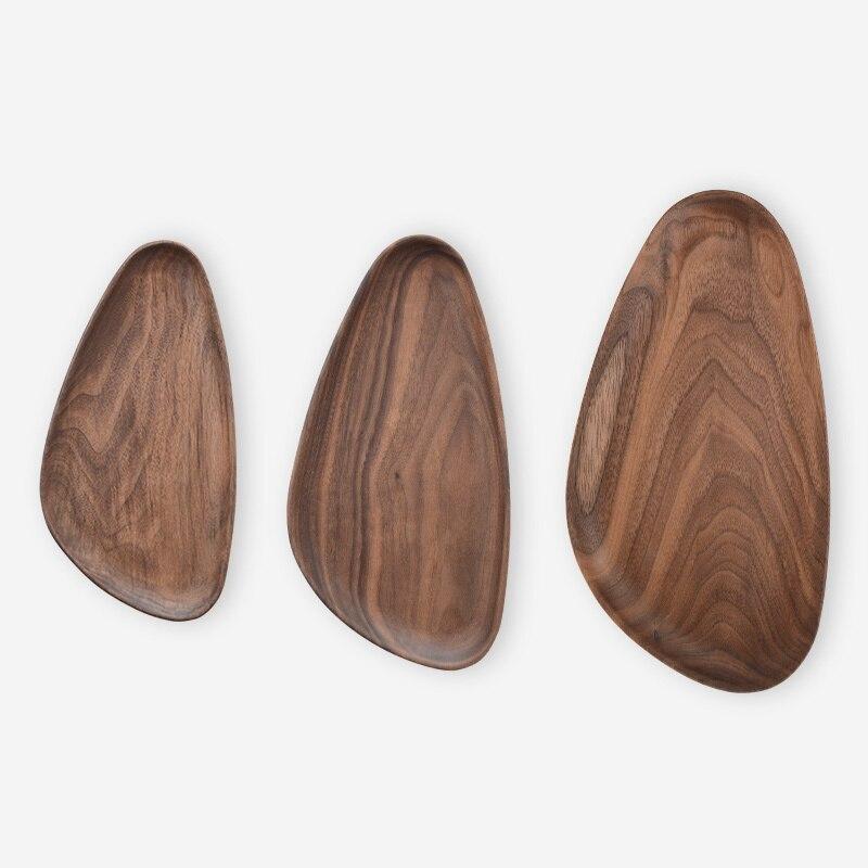 Waterdrop Shape whole wood block Walnut Wood Dish Food Plate Snack Tray Teapot Tray Serving Tray