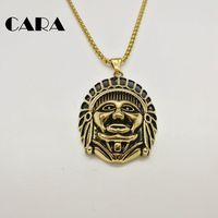 CARA New Retro Gold Plated Stainless Steel Mens Chain Necklace Vintage Indian Chief Charm Pendant Necklace