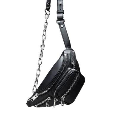 Vintage Waist Bag Women Alligator PU Leather Chain Belt Bag Waist Pack Travel Belt Wallets Fanny Bags Ladies Fit Phones