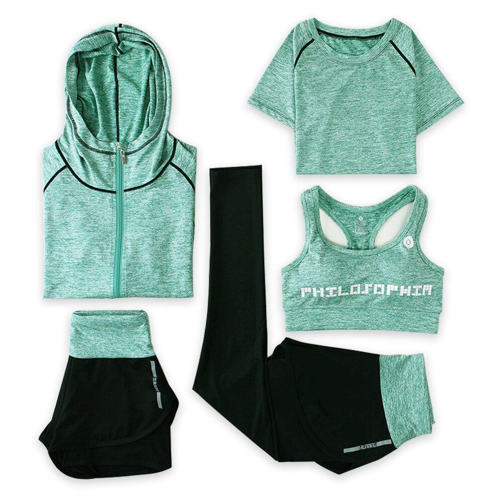 5 pcs ensemble Sport porter trois pièces Yoga ensemble Sport chemise pour femmes Sport soutien-gorge Fitness Flare pantalon Leggings survêtement Gym Leggings