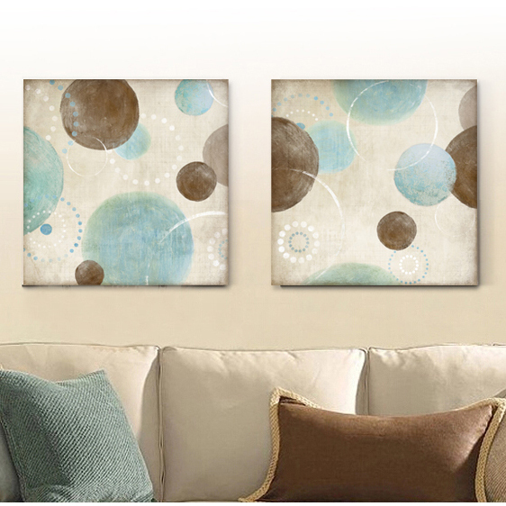 Buy light blue beige and brown circles for Blue and brown wall art