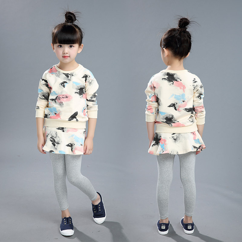 Grils Clothing Sets  2017 Autumn Spring girl set  Children Clothing Full Sleeve T Shirt  +Legging pants 2 pcs sets suit
