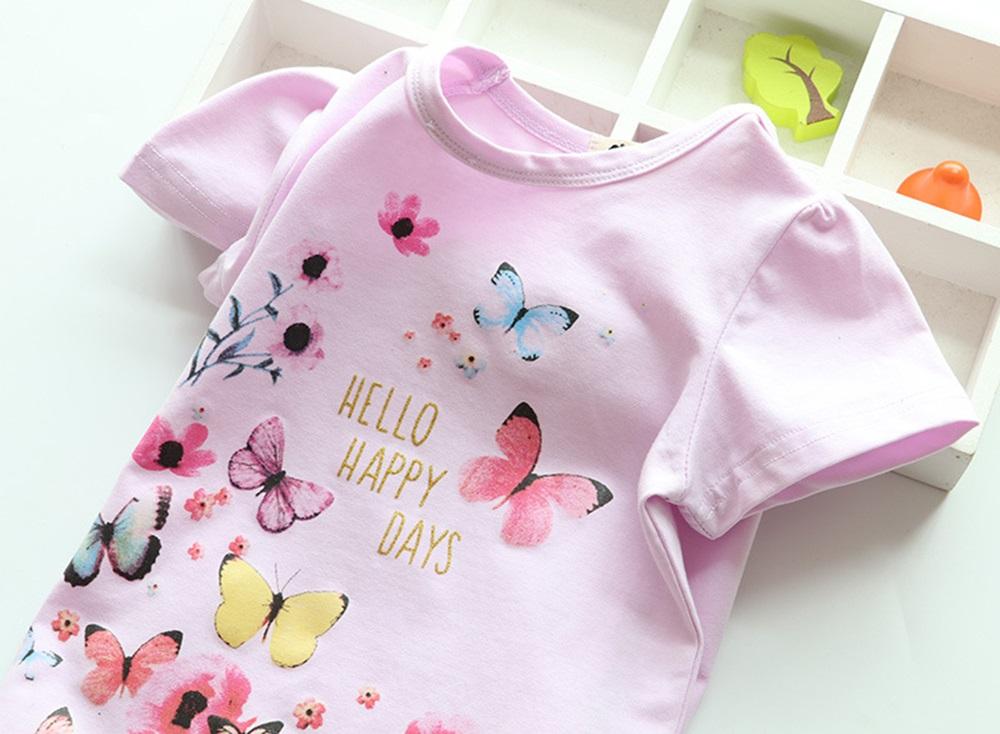 New Cotton Kids T-Shirt Children Summer Short Sleeve T-Shirts for Girls Clothes Cat Rabit Butterfly Baby T Shirt Toddler Tops 13