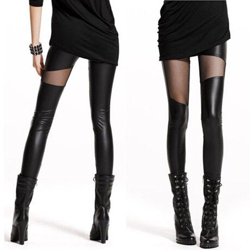 CUHAKCI Leather Pants Sexy Leggings WomenSlim See Through Rock Punk Leggins Stylish Patchwork Trousers Stretch Black Leggings