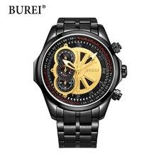 Burei Relojes de Los Hombres Top Marca De Lujo Hombre Reloj de Oro Dial Luminoso Manos Lente de Zafiro de Moda Pulsera Banda de Acero de La Venta Caliente