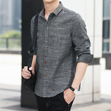 2018 men long sleeve cultivate one s morality Handsome cotton and linen shirt young MAO Fashion