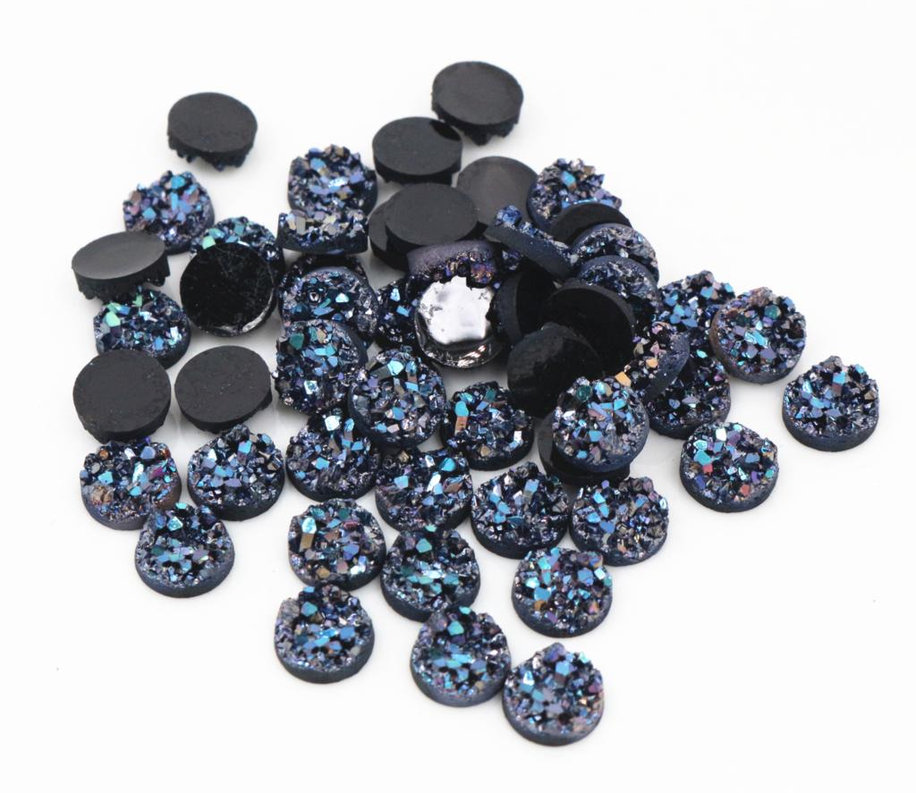 New Fashion 40pcs 8mm Black AB Colors Natural Ore Style Flat Back Resin Cabochons For Bracelet Earrings Accessories-V3-20