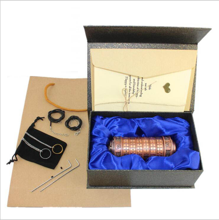 Leonardo da Vinci jouets éducatifs métal Cryptex serrures idées cadeaux vacances noël cadeau à marier amant évasion chambre