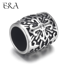 4pcs Stainless Steel Bead Charms Holy Cross  8mm Large Hole for Leather Jewelry Bracelet Making Metal Beads DIY Supplies Parts