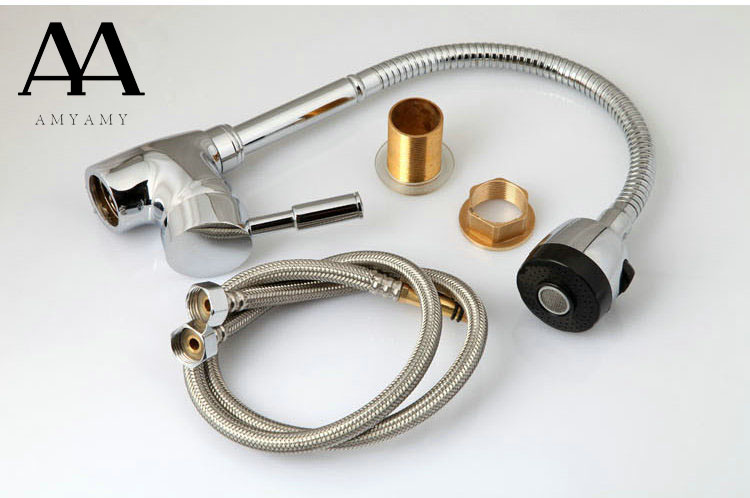 Kitchen Faucets With Plumbing Hose All Around Rotate Swivel 2 Function Water Outlet Mixer Tap Faucet