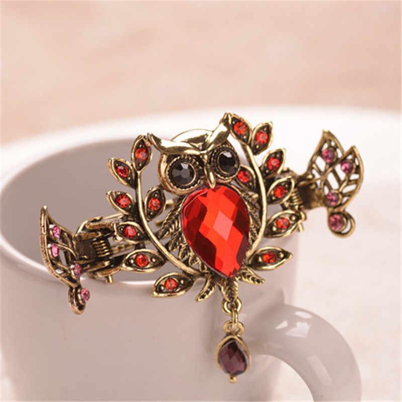 ... Cute 5 Color Crystal Bride Wedding Hair Accessories Owl Hair Claws  Metal Crab Clip For Women ... 81fc18017bd5