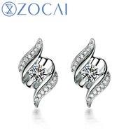 ZOCAI серьги встретиться 100% натуральный алмаз 0,13 КТ настоящий бриллиант 18 К белого золота серьги гвоздики ASOS fine jewelry E00798