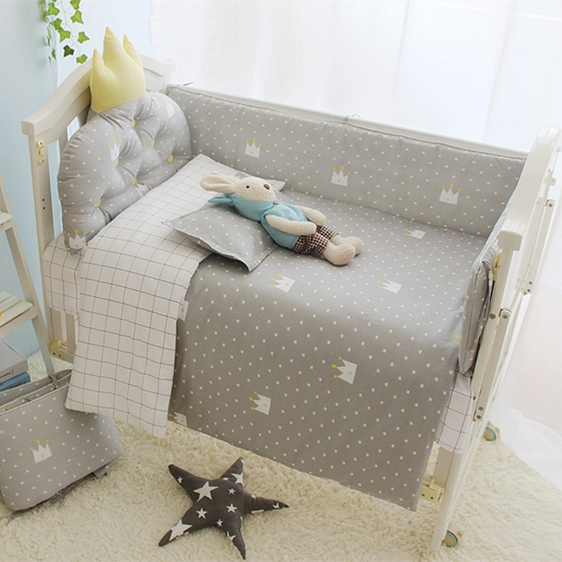 Little Prince Baby Boy sengetøj Crib Set, Infant Protector Sengetøjssæt, Bumpers Set i barneseng, dyne / pude / madras / ark