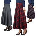 2016 Autumn Winter Women High Waist Plaid Ankle Length Long Skirts Plus size red Pleat Woolen Skirt Streetwear 6 Colors