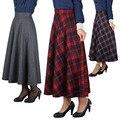 2016 Otoño Invierno Mujeres de Cintura Alta Faldas Largas Hasta Los Tobillos Más El tamaño Plisado rojo de Lana A Cuadros Falda Streetwear 6 Colores