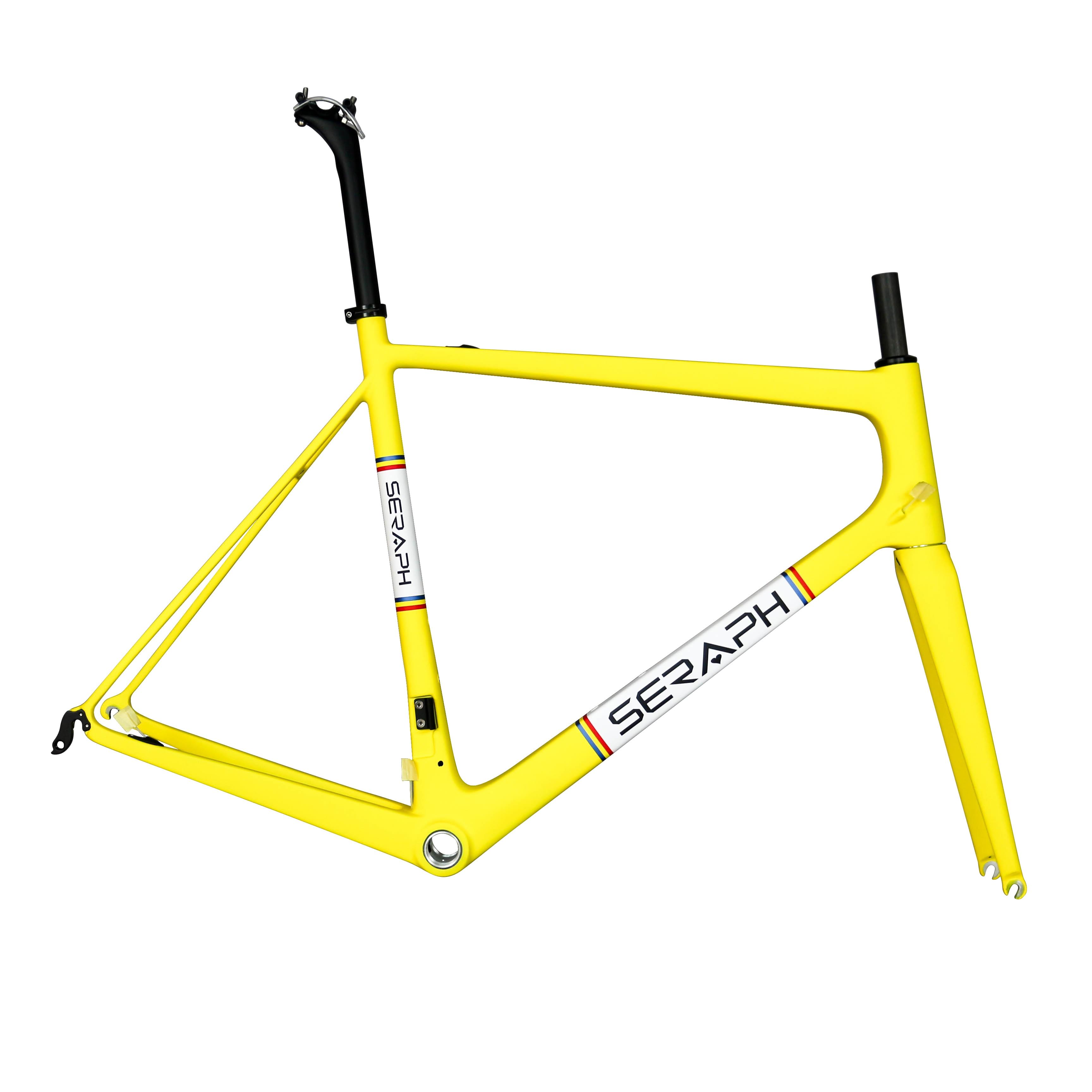2019 Seraph New Desgin Yellow Color Carbon Fiber T800 UD Road Bike Frame Fm686 Accept Customized Paint/logo