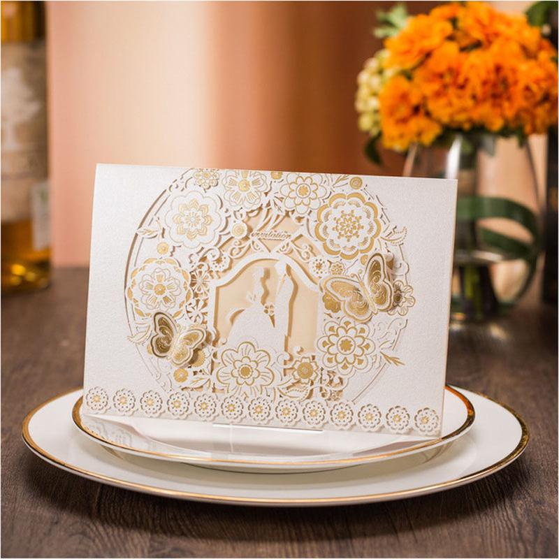 unid tarjetas de invitacin de boda de oro blanco laser cut butterfly fauna impresin