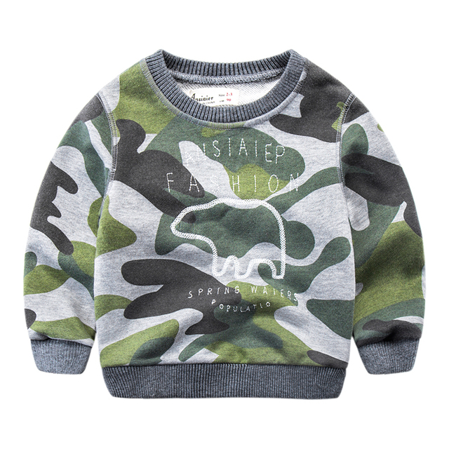 2017 new boys camouflage T-shirt sweater and wear turtleneck jacket baby crothet casual jacket