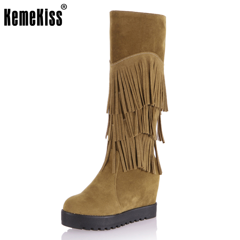 KemeKiss Female Flat Mid Calf Boots Women Fringed Shoes Woman Round Toe High-Top Boots Sexy Tassel Botas Femininas Size 34-43 kemekiss size 34 43 ladies height increasing mid calf boots women round toe cross tied shoes women thick fur warm snow botas