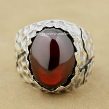 Huge Red CZ Stone 925 Sterling Silver Mens Biker Ring 8Y003