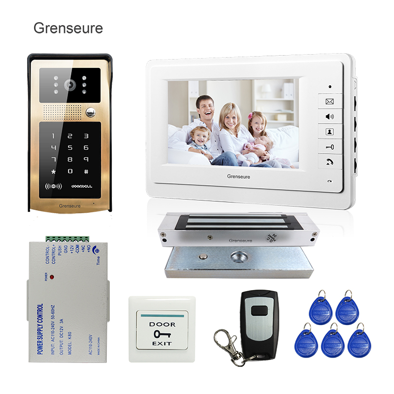 FREE SHIPPING 7 Color Screen Video Door Phone Intercom Kit Waterproof RFID Keypad Doorbell Camera 180kg Electric Magnetic Lock free shipping wire 7 lcd monitor video intercom door phone kit waterproof rfid code keypad doorbell camera magnetic lock