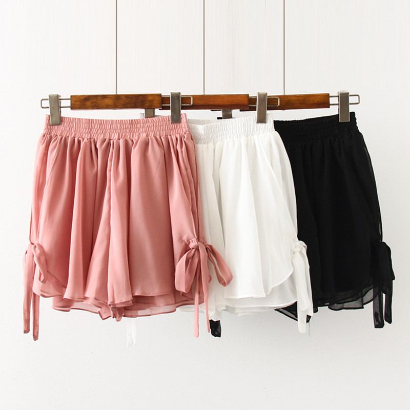 Casual Shorts Women 2019 Summer Korean Style Kawaii Bow Lace-Up High Waist Chiffon Shorts Loose Wide Leg Cullottes